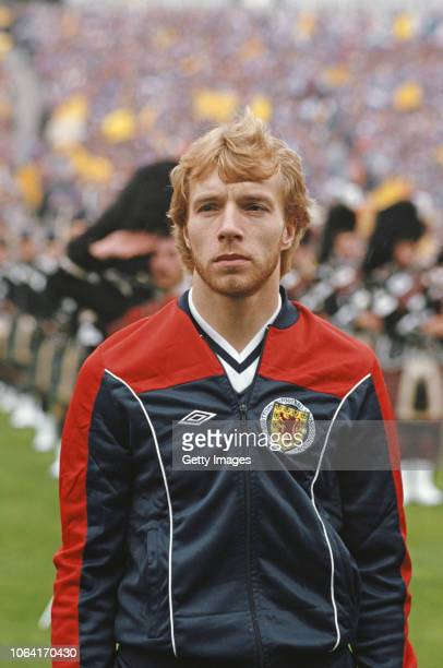 Scotland striker Steve Archibald pictured in his Umbro tracksuit before the 1984 Home International Championships Match against England at Hampden on...