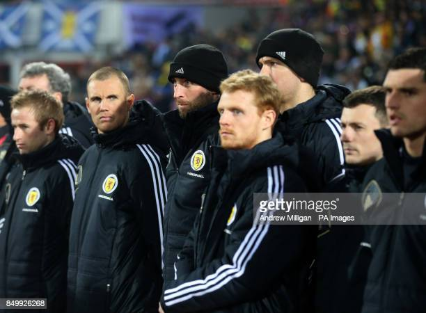 Scotland substitutes Barry Bannon Kenny Miller Alan McGregor Chris Burke Paul Caddis and Graham Dorans during the FIFA World Cup Qualifying Group A...