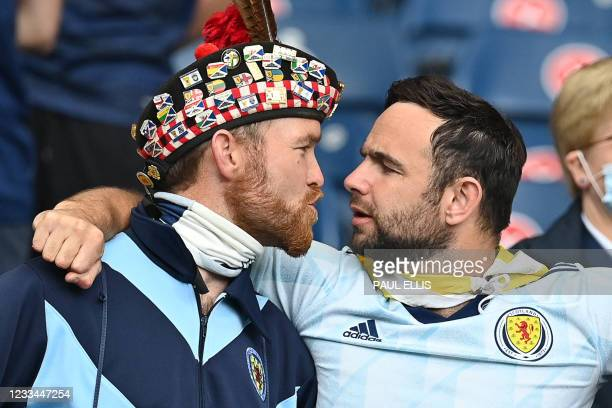 Scotland supporters are seen in the stands ahead of the UEFA EURO 2020 Group D football match between Scotland and Czech Republic at Hampden Park in...