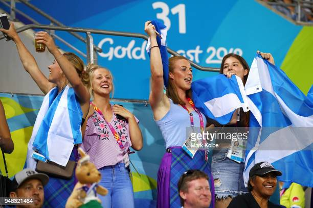 Scotland supporters sing during the Rugby Sevens match between Scotland and Malaysia on day 10 of the Gold Coast 2018 Commonwealth Games at Robina...