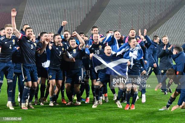 Scotland team celebrate after their teams victory during the UEFA EURO 2020 Play-Off Final between Serbia and Scotland at Rajko Mitic Stadium on...