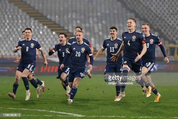 Scotland team celebrate after their victory in the UEFA EURO 2020 Play-Off Final between Serbia and Scotland at Rajko Mitic Stadium on November 12,...