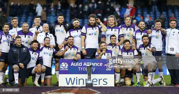 Scotland team group celebrates after winning the NatWest Six Nations match between Scotland and France at Murrayfield on February 11 2018 in...