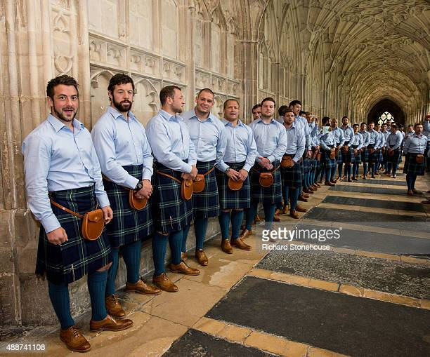 Scotland team headed by team Captain Greig Laidlaw in the cloister at Gloucester Cathedral before RWC 2015 Welcome Ceremony Scotland on September 17...
