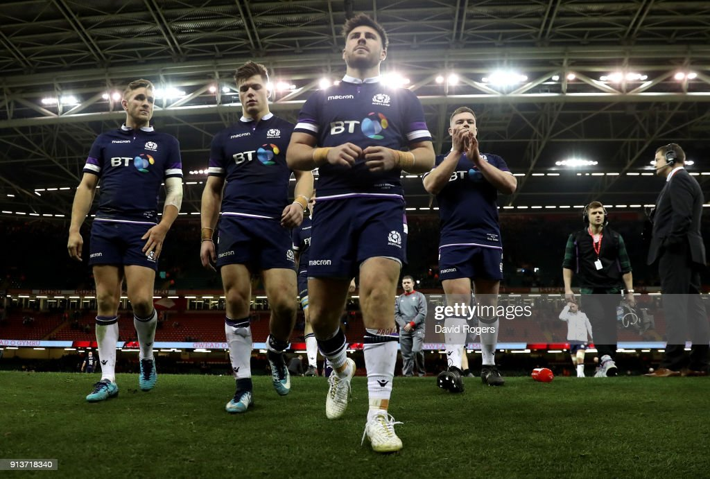 Scotland team leave the pitch following the Natwest Six Nations round One match between Wales and Scotland at Principality Stadium on February 3, 2018 in Cardiff, Wales.