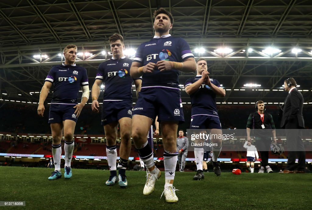 Scotland team leave the pitch following their defeat during the Natwest Six Nations round One match between Wales and Scotland at Principality Stadium on February 3, 2018 in Cardiff, Wales.