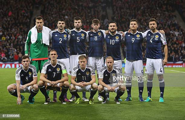Scotland team pose for a team photograph during the FIFA 2018 World Cup Qualifier between Scotland and Lithuania at Hampden Park on October 8 2016 in...