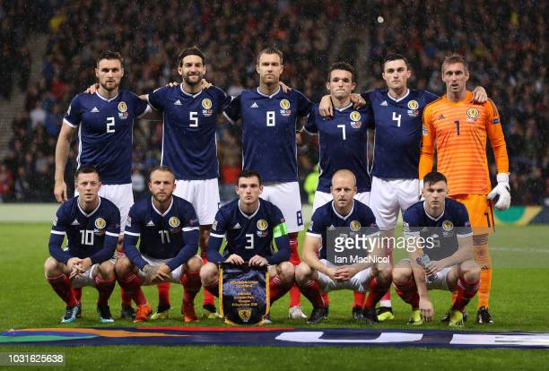 Scotland team pose for photographs during the UEFA Nations League C group one match between Scotland and Albania at Hampden Park on September 10 2018...