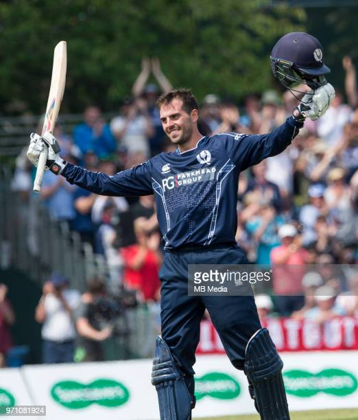 Scotland top order batsman Calum Macleod reaches 100 during the first innings of the One Day International at the Grange Cricket Club on June 10 2018...