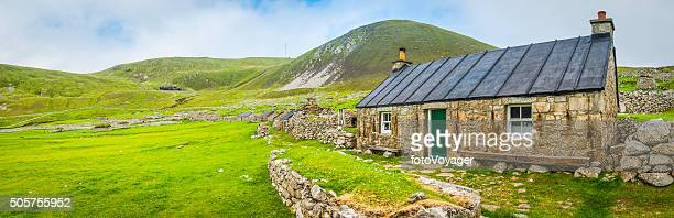 Scotland traditional blackhouse reconstructed on St Kilda Outer Hebrides Scotland
