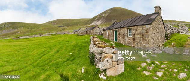 Scotland Traditional Stone Croft Cottages St Kilda Western Isles Stock Photo