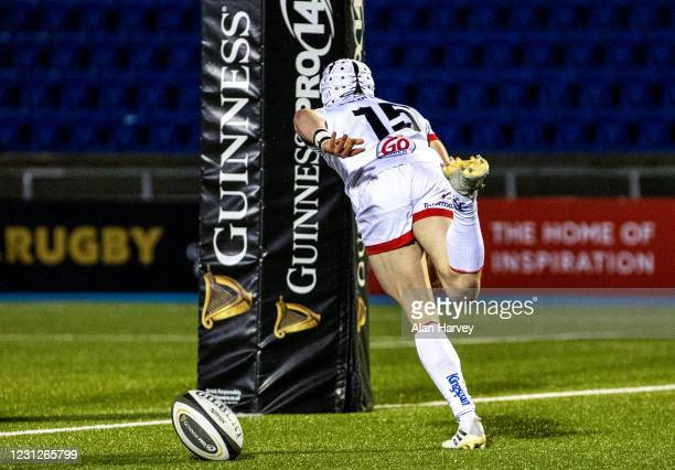 Scotland , United Kingdom - 19 February 2021; Michael Lowry of Ulster scores a try in the first half during the Guinness PRO14 match between Glasgow...