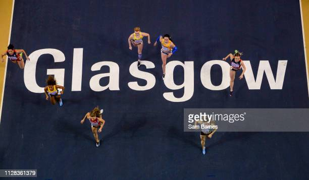 Scotland United Kingdom 2 March 2019 Athletes competing in the Heats of the Women's 60m event during day two of the European Indoor Athletics...