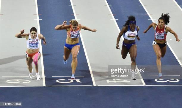 Scotland United Kingdom 2 March 2019 Athletes from left Ewa Swoboda of Poland Dafne Schippers of Netherlands Asha Philip of Great Britain and Mujinga...
