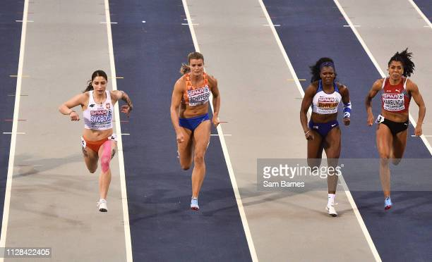 Scotland United Kingdom 2 March 2019 Athletes from left Ewa Swoboda of Poland Dafne Schippers of Netherlands Asha Philip of Great Britain and Mujinga...