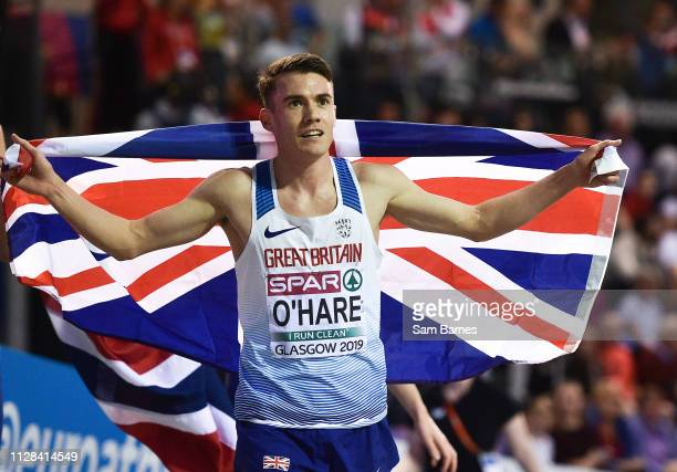 Scotland United Kingdom 2 March 2019 Chris O'Hare of Great Britain celebrates winning a silver medal in the Men's 3000m event during day two of the...