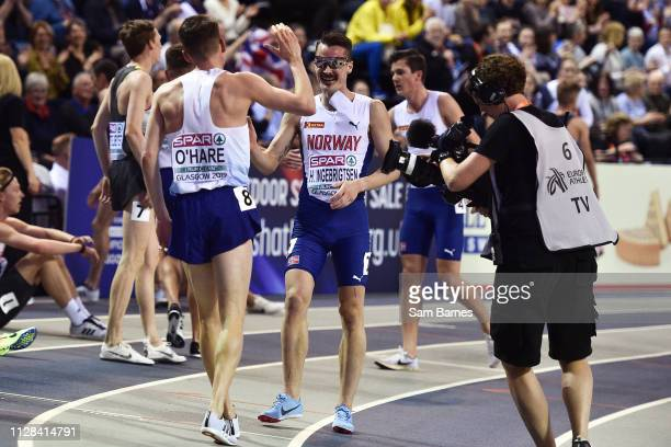 Scotland United Kingdom 2 March 2019 Chris O'Hare of Great Britain is congratulated by Henrik Ingebrigtsen of Norway after competing in the Men's...