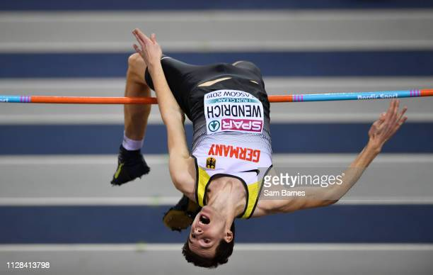Scotland United Kingdom 2 March 2019 Falk Wendrich of Germany competing in the Men's High Jump event during day two of the European Indoor Athletics...