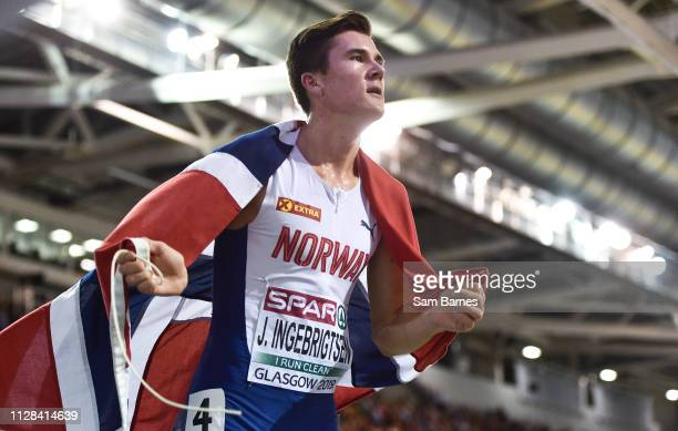 Scotland United Kingdom 2 March 2019 Jakob Ingebrigtsen of Norway celebrates winning a gold medal in the Men's 3000m event during day two of the...