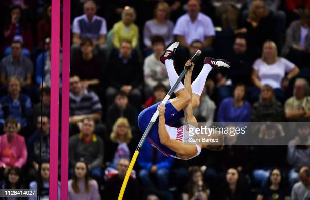 Scotland United Kingdom 2 March 2019 Sondre Guttormsen of Norway competing in the Men's Pole Vault event during day two of the European Indoor...