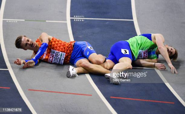 Scotland United Kingdom 2 March 2019 Tony van Diepen of Netherlands left and Luka Janezic of Slovenia after competing in the Men's 400m event during...