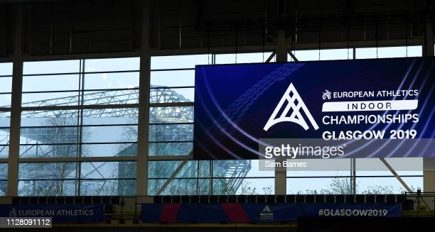 Scotland United Kingdom 28 February 2019 Celtic Park pictured through the window of the Emirates Arena during the previews of the European Indoor...