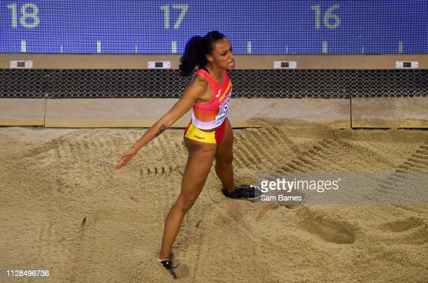 Scotland United Kingdom 3 March 2019 Ana Peleteiro of Spain celebrates whilst competing in the Women's Triple Jump event during day three of the...