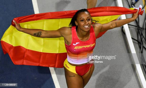 Scotland United Kingdom 3 March 2019 Ana Peleteiro of Spain celebrates winning the Women's Triple Jump event during day three of the European Indoor...