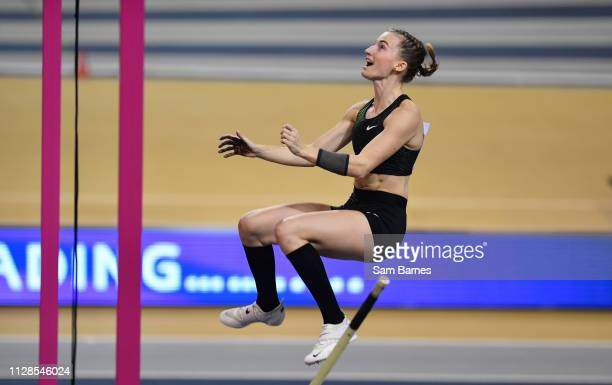 Scotland United Kingdom 3 March 2019 Authorised Neutral athlete Anzhelika Sidorova celebrates a clearance on her way to winning the Women's Pole...