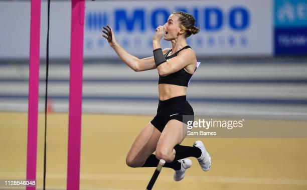 Scotland United Kingdom 3 March 2019 Authorised Neutral athlete Anzhelika Sidorova makes a clearance on her way to winning the Women's Pole Vault...