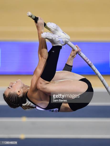 Scotland United Kingdom 3 March 2019 Authorised Neutral athlete Anzhelika Sidorova on her way to winning the Women's Pole Vault event during day...