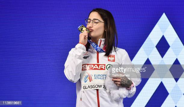 Scotland United Kingdom 3 March 2019 Women's 60m gold medallist Ewa Swoboda of Poland with her medal during day three of the European Indoor...