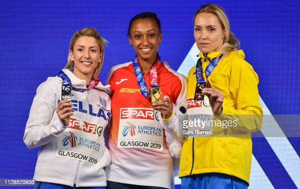 Scotland United Kingdom 3 March 2019 Women's Triple Jump medallists from left Paraskevi Papachristou of Greece silver Ana Peleteiro of Spain gold and...
