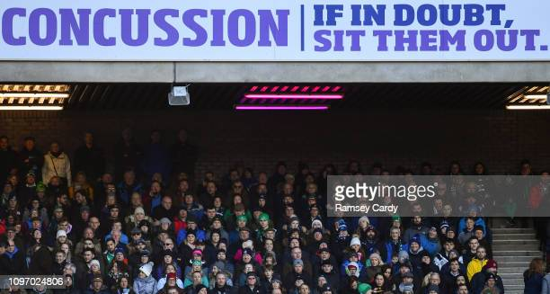 Scotland , United Kingdom - 9 February 2019; A concussion advert during the Guinness Six Nations Rugby Championship match between Scotland and...