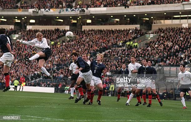 Scotland v England at Hampden Park Paul Scholes scores England's second goal with a header from a freekick