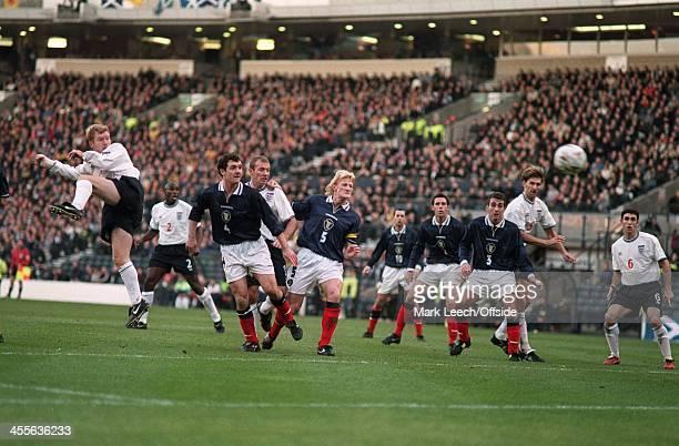 Scotland v England at Hampden Park, Paul Scholes scores England's second goal with a header from a free-kick.