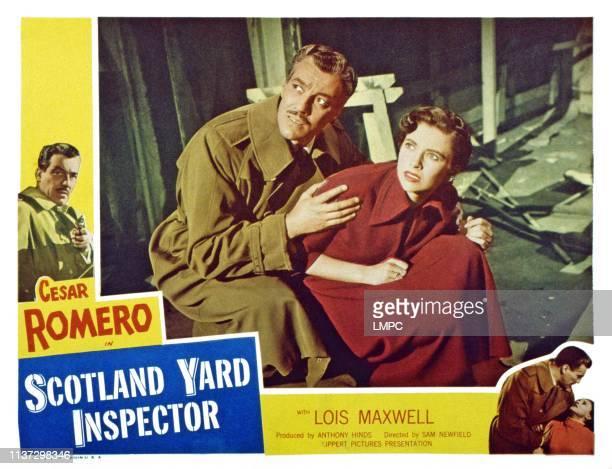 Scotland Yard Inspector, lobbycard, , from left: Cesar Romero, Lois Maxwell, 1952.