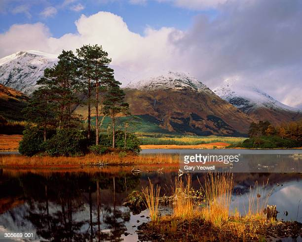 Scotland,autumn landscape,view over lake,snow capped highlands behind