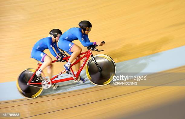 Scotland's Aileen McGlynn and Louise Haston compete in the women's 1000m time trial B2 tandem track cycling event in the Sir Chris Hoy Velodrome...