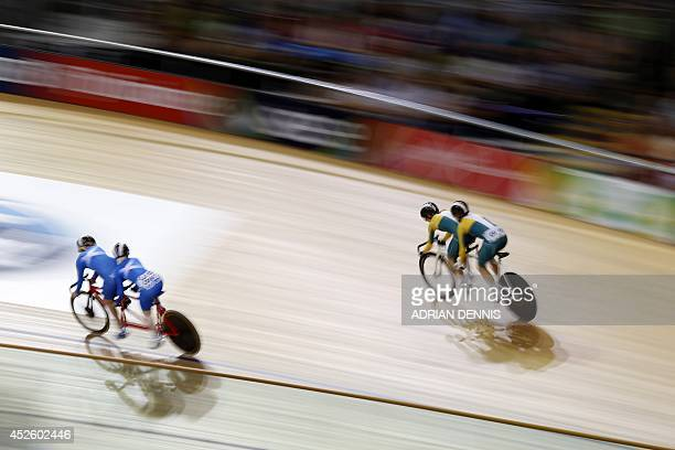 Scotland's Aileen McGlynn and Louise Haston compete with Australia's Brandie O'Connor and Australia's Breanna Hargrave in the women's sprint B2...