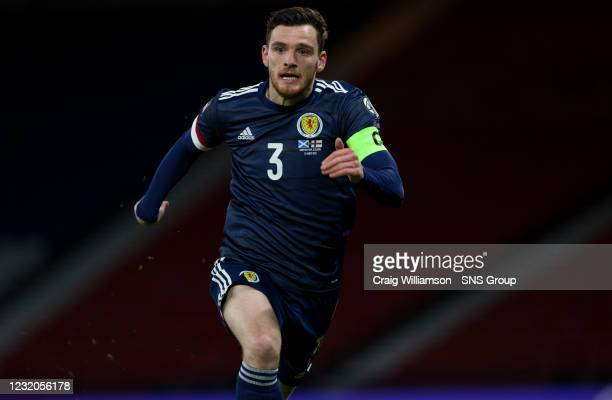 Scotland's Andrew Robertson during a World Cup qualifier between Scotland and the Faroe Islands at Hampden Park, on March 31 in Glasgow, Scotland.