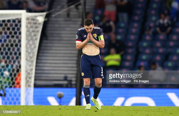 Scotland's Andrew Robertson looks dejected after they concede a third goal during the UEFA Euro 2020 Group D match at Hampden Park, Glasgow. Picture...
