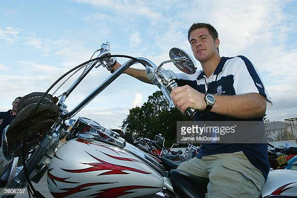 Scotlands Andy Craig on a Bandidos bike at the Ridges Hotel on October 17, 2003 in Caloundra, Australia.