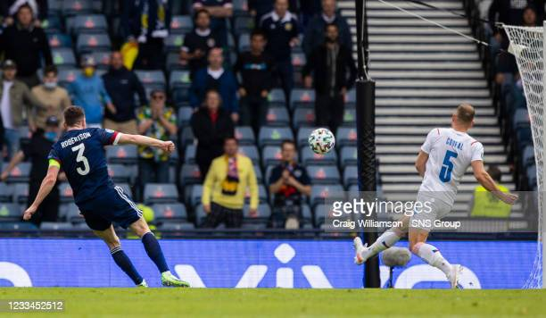 Scotland's Andy Robertson has a first half affort at goal during a Euro 2020 match between Scotland and Czech Republic at Hampden Park on June 14 in...