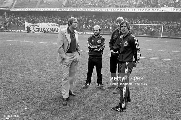 Scotland's Archie Gemmill Alan Rough and Don Masson survey the stadium with manager Ally MacLeod before the match