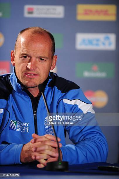 Scotland's attack coach Gregor Townsend answers journalists during a press conference on September 13 2011 at the Rugby Park stadium in Invercargill...