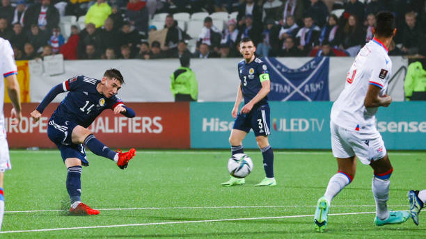 Scotland's Billy Gilmour has a strike at goal during a FIFA World Cup Qualifier between Faroe Islands and Scotland at Torsvollur, on October 12 in...