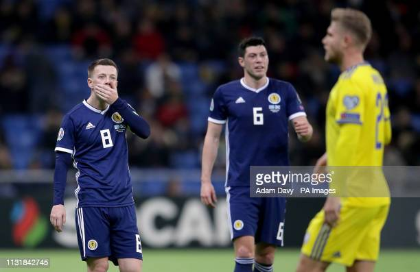 Scotland's Callum McGregor appears dejected during the UEFA Euro 2020 Qualifying Group I match at the Astana Arena