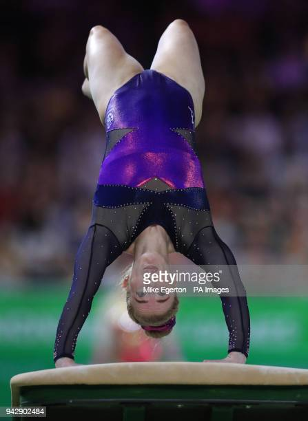 Scotland's Cara Kennedy on the Vault in the Women's Individual AllRound Final at the Coomera Indoor Sports Centre during day three of the 2018...