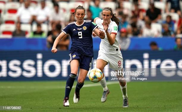 Scotland's Caroline Weir and England's Jill Scott battle for the ball during the FIFA Women's World Cup Group D match at the Stade de Nice